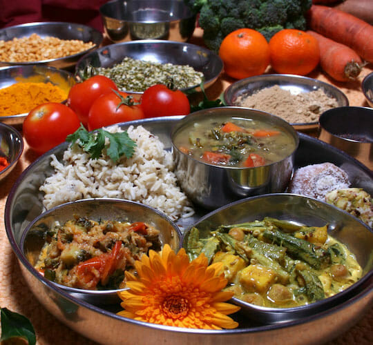 """<div style=""""line-height: 1.3; color: #ce402d; font-family: catamaran; """">Ayurveda - the essential guide to healthy living</div>"""