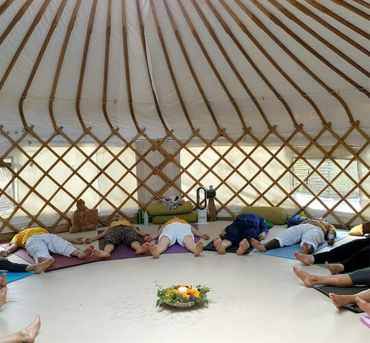 """<div style=""""line-height: 1.3; color: #ce402d; font-family: catamaran; """">One Day retreat</br>in the UK Countryside</br>Yoga in a traditional Yurt</div>"""
